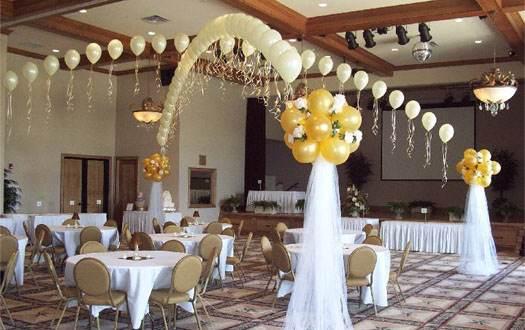 оформление зала для празднования свадьбы