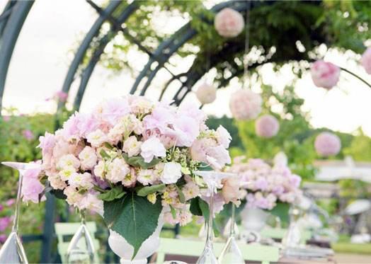 цветочные композии в интерьере свадьбы