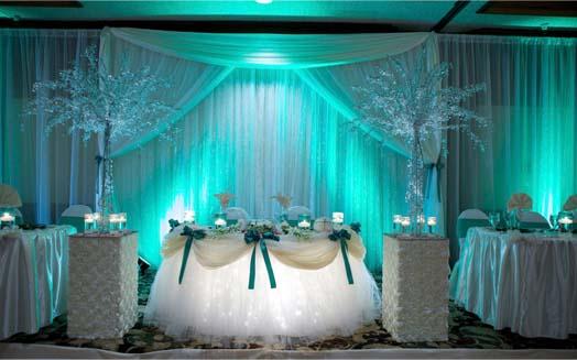 оформление свадьбы в берюзовых тонах